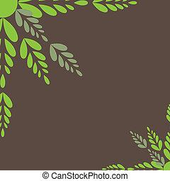 ベクトル, イラスト, leaves., 緑