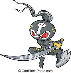 ベクトル, イラスト, ninja