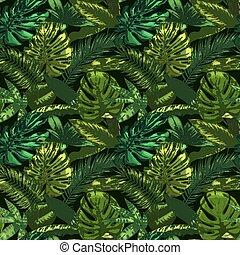 ベクトル, イラスト, pattern., 庭, 葉, トロピカル, monstera, tropic, 色, 緑, ...
