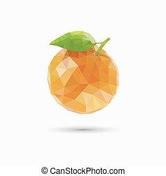 ベクトル, イラスト, polygonal, フルーツ, オレンジ, style.