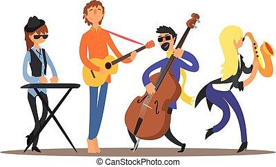 ベクトル, イラスト, stage., 音楽家