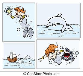 ベクトル, イルカ, mermaid, 船