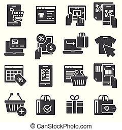 ベクトル, インターネット商業, セット, 買い物, アイコン