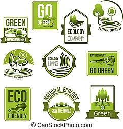 ベクトル, エコロジー, アイコン, 自然, 環境, セット