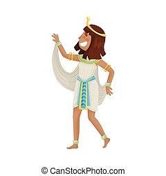 ベクトル, エジプト人, バックグラウンド。, 白, 女, イラスト, 衣装, pharaoh.