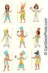 ベクトル, エジプト人, pharaohs., バックグラウンド。, 白, イラスト, セット