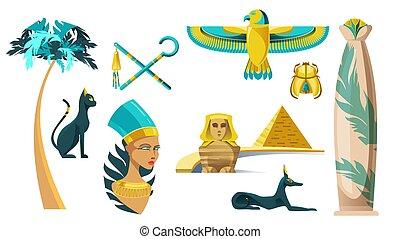 ベクトル, エジプト, シンボル, アイコン, 古代