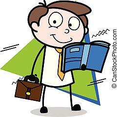 ベクトル, オフィス, -, イラスト, 間, 本, 従業員, ビジネスマン, 旅行する, 読書, 漫画