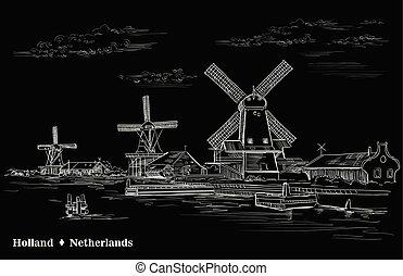 ベクトル, オランダ, 手, 2, 黒, 図画