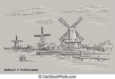 ベクトル, オランダ, 灰色, 手, 2, 図画