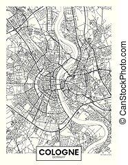 ベクトル, オーデコロン, 都市, 詳しい, 地図, ポスター