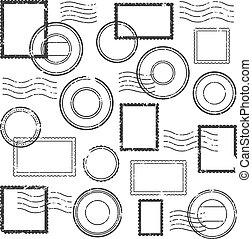 ベクトル, カシェ剤, 印, ポスト, 消印, 切手, 型, 隔離された, 郵便, watermark, セット, 旅行...