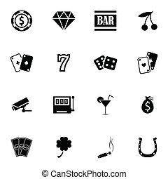 ベクトル, カジノ, セット, 黒, アイコン