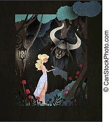 ベクトル, カバー, fairytale, イラスト, 獣, 美しさ, 本