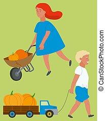 ベクトル, カボチャ, 行く, トラック, 子供, 収穫