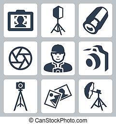 ベクトル, カメラマン, そして, 写真 装置, アイコン, セット
