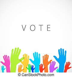 ベクトル, カラフルである, の上, イラスト, 暖かい, 手, 投票, ロゴ