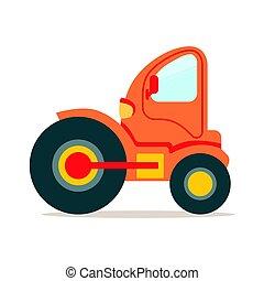 ベクトル, カラフルである, スチームローラー, イラスト, 建設, トラック, 機械類, オレンジ, 漫画