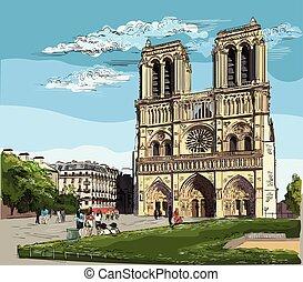 ベクトル, カラフルである, パリ, 手, 2, 図画