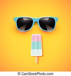 ベクトル, カラフルである, 現実的, 黄色, アイスクリーム, 背景, イラスト, sunglass