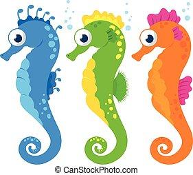 ベクトル, カラフルである, seahorses., イラスト