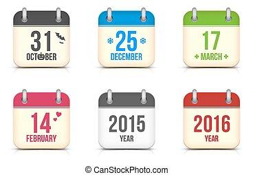 ベクトル, カレンダー, セット, ホリデー, アイコン