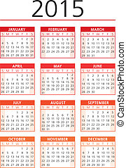 ベクトル, カレンダー, 2015