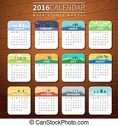 ベクトル, カレンダー, 2016, テンプレート