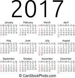 ベクトル, カレンダー, 2017, 日曜日