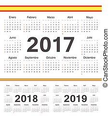 ベクトル, カレンダー, 2017, 黒, スペイン語, 2019, 円, 2018
