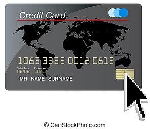 ベクトル, カーソル, クレジット, コンピュータ, 黒, カード