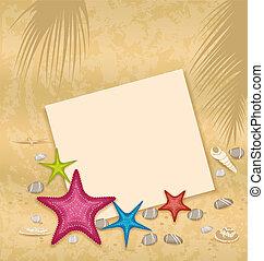 ベクトル, カード, -, イラスト, 砂のペーパー, 背景, 石, 貝殻, 小石, starfishes
