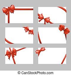 ベクトル, カード, セット, お辞儀をする, 贈り物