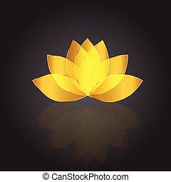 ベクトル, カード, ロゴ, 金, ロータス, 美しい, id, 花