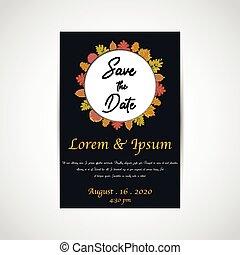 ベクトル, カード, 招待, 背景, 黒, 結婚式, を除けば, 日付