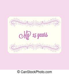 ベクトル, カード, 招待, 15, 装飾, 渦巻, 花, 記念日, 年