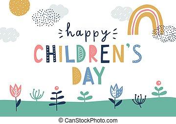 ベクトル, カード, 日, 挨拶, 幸せ, かわいい, childrens