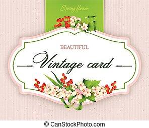 ベクトル, カード, 春, 優雅である, イラスト, flowers., 型