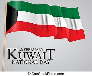 ベクトル, カード, 25, 2 月, 旗, 背景, ポスター, テンプレート, flyer., 日, ∥あるいは∥, クウェート, デザイン, 国民, イラスト