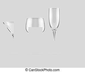 ベクトル, ガラス, セット, ゴブレット, 透明