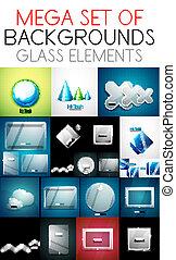 ベクトル, ガラス, 要素, コレクション, mega