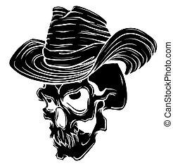 ベクトル, ギャング, 帽子, tattoo., 死, 頭骨, 頭, 葉巻き