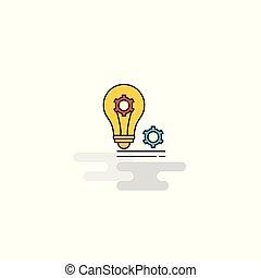ベクトル, ギヤ, icon., 電球, 平ら