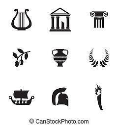ベクトル, ギリシャ, セット, 黒, アイコン