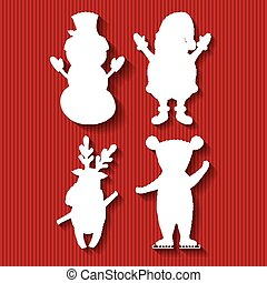 ベクトル, クリスマス, イラスト, 数字