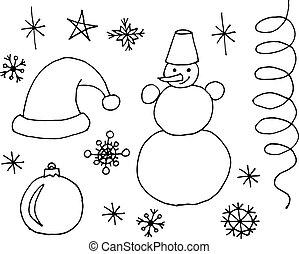 ベクトル, クリスマス, セット, いたずら書き, 手, シンボル, sketchy, オブジェクト, 引かれる, 漫画