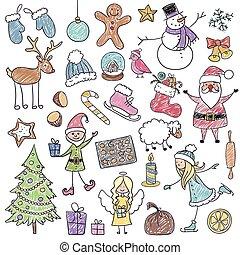 ベクトル, クリスマス, 子供, 図画