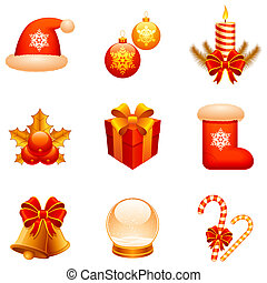 ベクトル, クリスマス, icons.