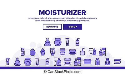 ベクトル, クリーム, moisturizer, ヘッダー, 着陸