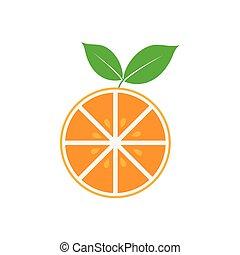 ベクトル, グラフィックアート, クリップ, 隔離された, フルーツ, デザイン, テンプレート, オレンジ